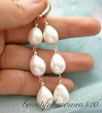 z3114 3line 15mm white drip freshwater pearl dangle earring 1