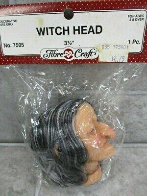 "Fibre Craft  Witch Head Craft Piece NOS Doll Parts 3 1//2/"" #7505"
