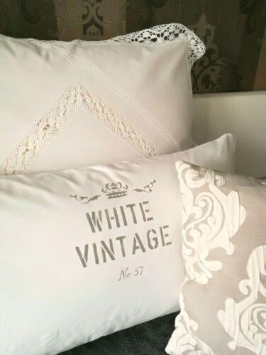 Grau  Frankreich Landhaus Shabby Vintage ca.80x40 cm Kissenbezug  Kissen Weiß