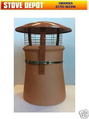 Chimney pot rain cowl FOR WOODBURNER MULTIFUEL STOVE terracotta