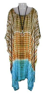 TIE DYE Cover up Kaftan Beach Hippie Dress Boho Size 18 20 22 24 26 28 30 32