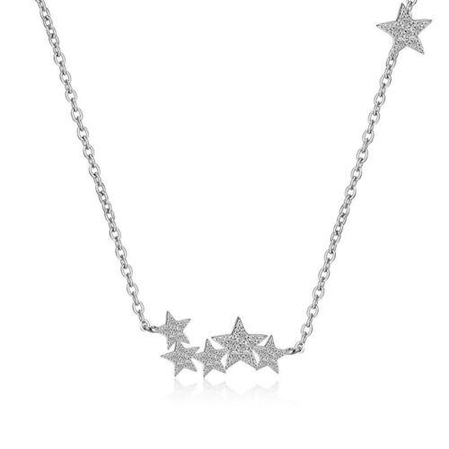 Fashion Solid 925 Sterling Silver zircon étoile Collier Petite Amie cadeaux pour elle