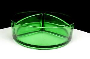 """CAMBRIDGE GREEN VASELINE GLASS 3 PART DIVIDED 7"""" CANDY DISH 1930's-1940's"""