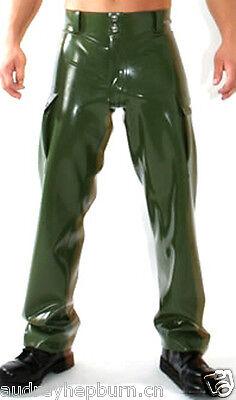 100% Latex Rubber Gummi Metal Green Stylish Handsome Pants Size XS-XXL