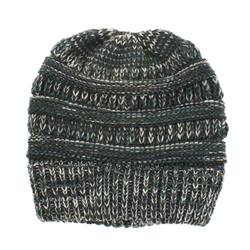 Femmes Hiver beanietail désordonné Haut Chignon queue de cheval extensible Knit Beanie Crâne Chapeau