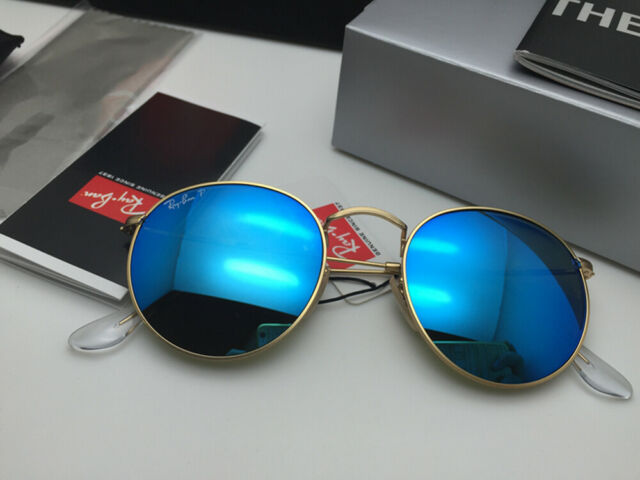 Ray Ban Retro Round Metal Sunglasses RB 3447 112/4L Matte Gold Blue Polarized