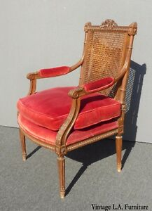 Vintage-Carved-Mahogany-amp-Cane-Red-Velvet-Goose-Down-Chair-Louis-Bulloni-amp-Son