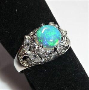 Anillo 750 Oro Blanco Austr.opal Y Aprox. 1ct Diamantes Gr.54/17,2 MM Cambiable