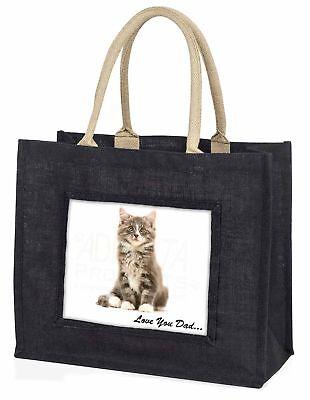 flauschig Kätzchen' liebe Dich Papa' große schwarze Einkaufstasche