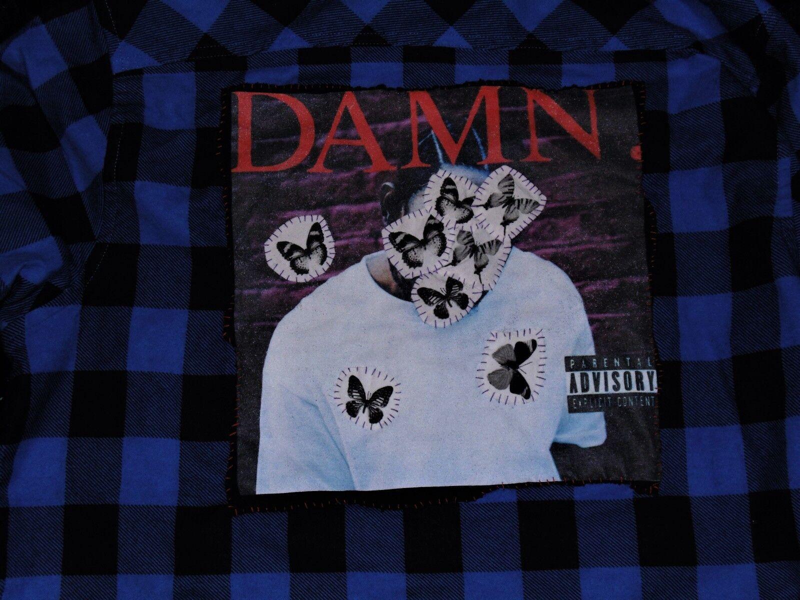 Kendrick Lamar DANNATO. personalizzati Blu e Nero Medio controllato Camicia a maniche lunghe