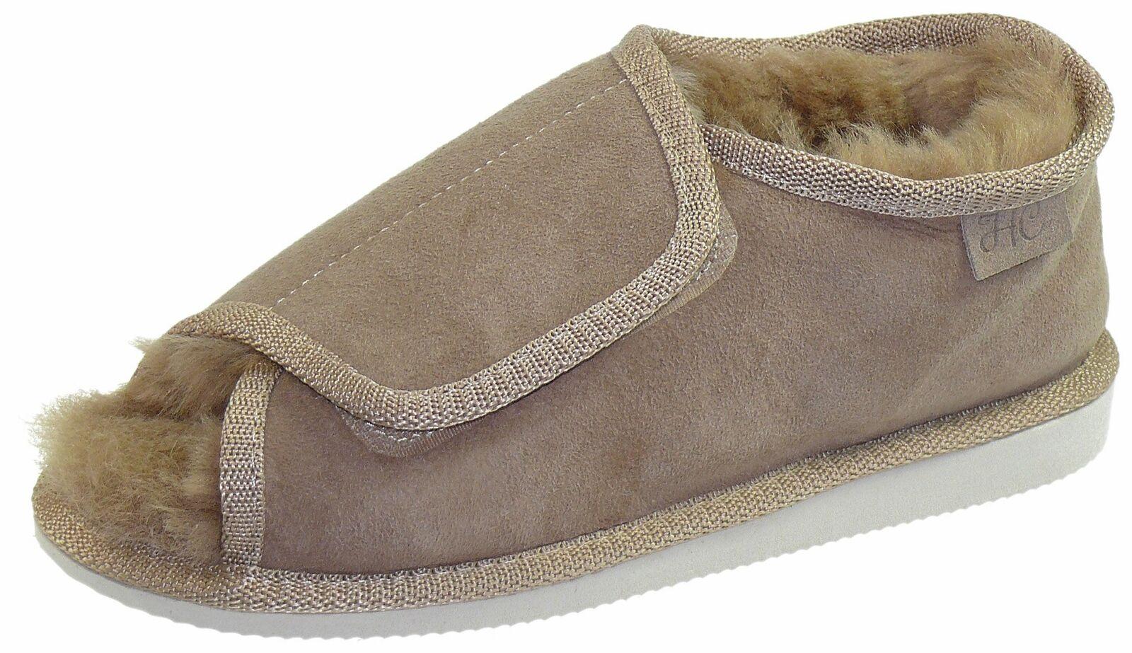 Extra dicke Lammfell Schuhe mit Klettverschluss Hausschuh Hausschuhe Pantoletten