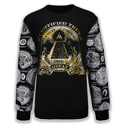NEW Men Long Sleeve Eye of Providence Pyramid BIG & TALL ALL SIZES Crewneck
