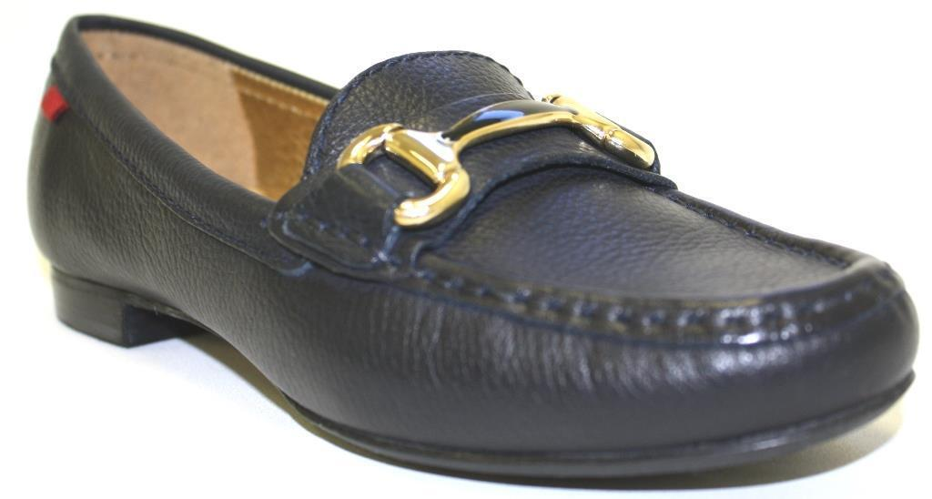 Women's shoes Marc Joseph GRAND ST. Moccasins gold Hardware Leather NAVY GRAINY