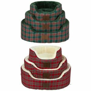 Bunty-Heritage-Tartan-Soft-Fur-Fleece-Dog-Bed-Washable-Pet-Basket-Mat-Cushion