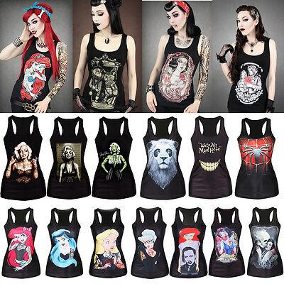 Womens Printed Sleeveless Vest Tank Top Strechy Bodycon Blouse Punk Rock T-Shirt