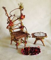 Fairy Garden Miniature Dollhouse Twig Rose Moss Furniture Chair/table/ Rug Set