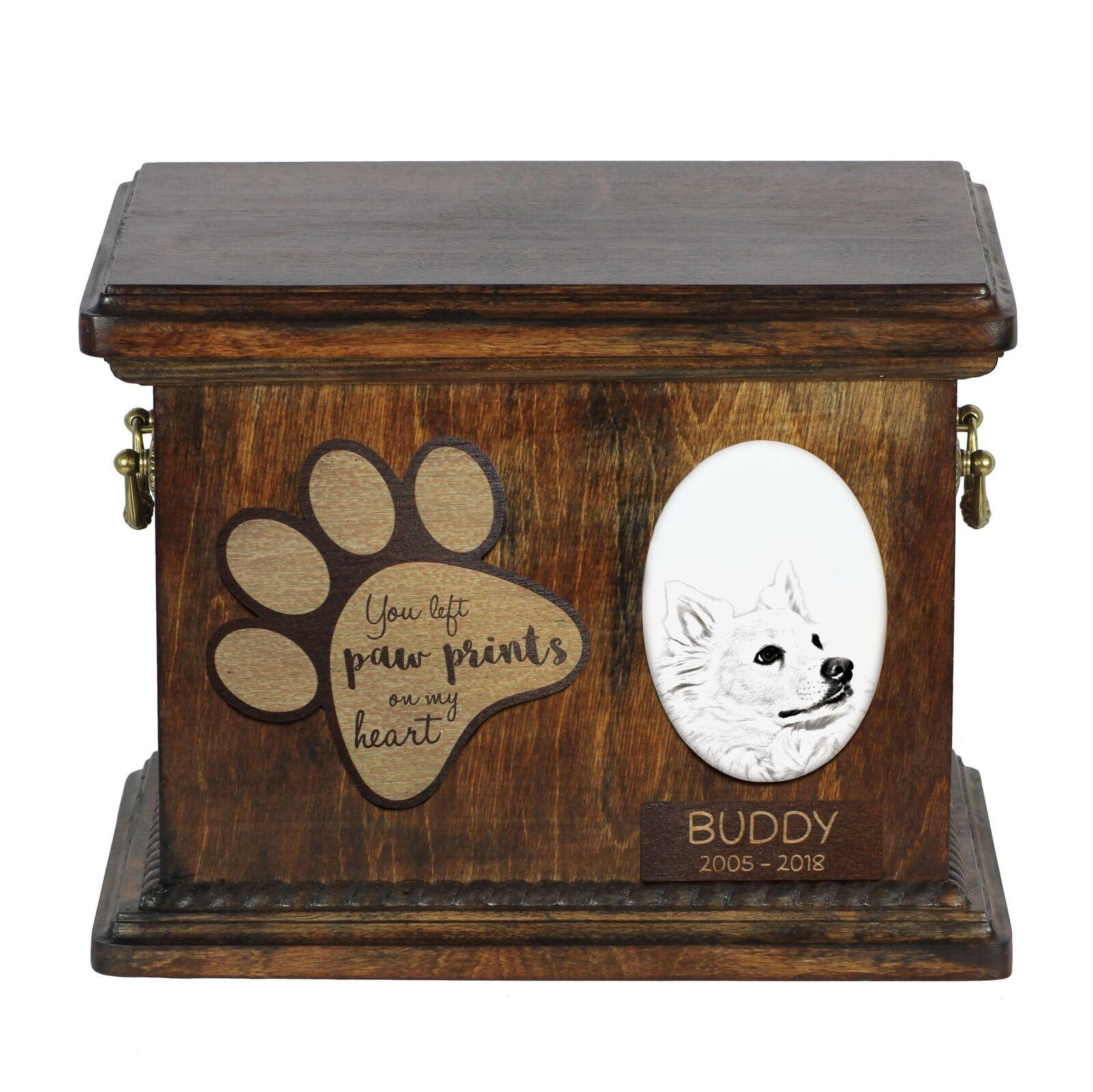 American eskimo - Urn for dog's ashes with ceramic plate and description, ArtDog