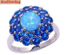 Triumphant Fiery Blue Opal Blue Sapphire 925 Hallmarked Silver Ring Size 6 - L