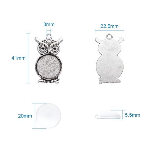 10 Sets Antique Silver Alloy Owl Pendant Makings Glass Cabochon Settings 20mm