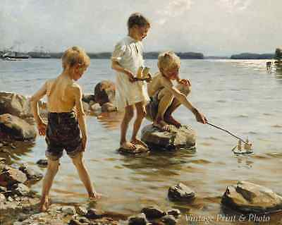 Water Rocks Boats Art Boys Playing on the Shore by A Edelfelt 8x10 Print 0251