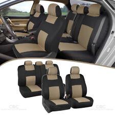 Beige & Black Car Seat Covers for Auto Set 5 Headrests Split Option Bench