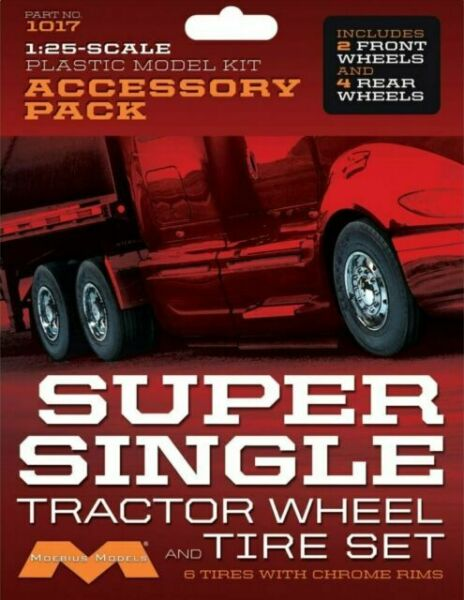 Moebius Models 1017 1//25 Super Single Tractor Wheel /& Tire Set 6