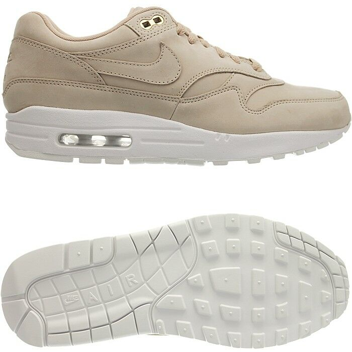 Nike Air Max 1 PRM Femme faible-top sneakers beige/ Blanc  casual  chaussures  suede NEW