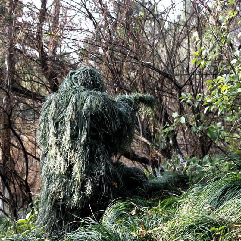 Traje de camuflaje 3D Camo Ligero Ghillie Caza Táctica Bosque Woodland