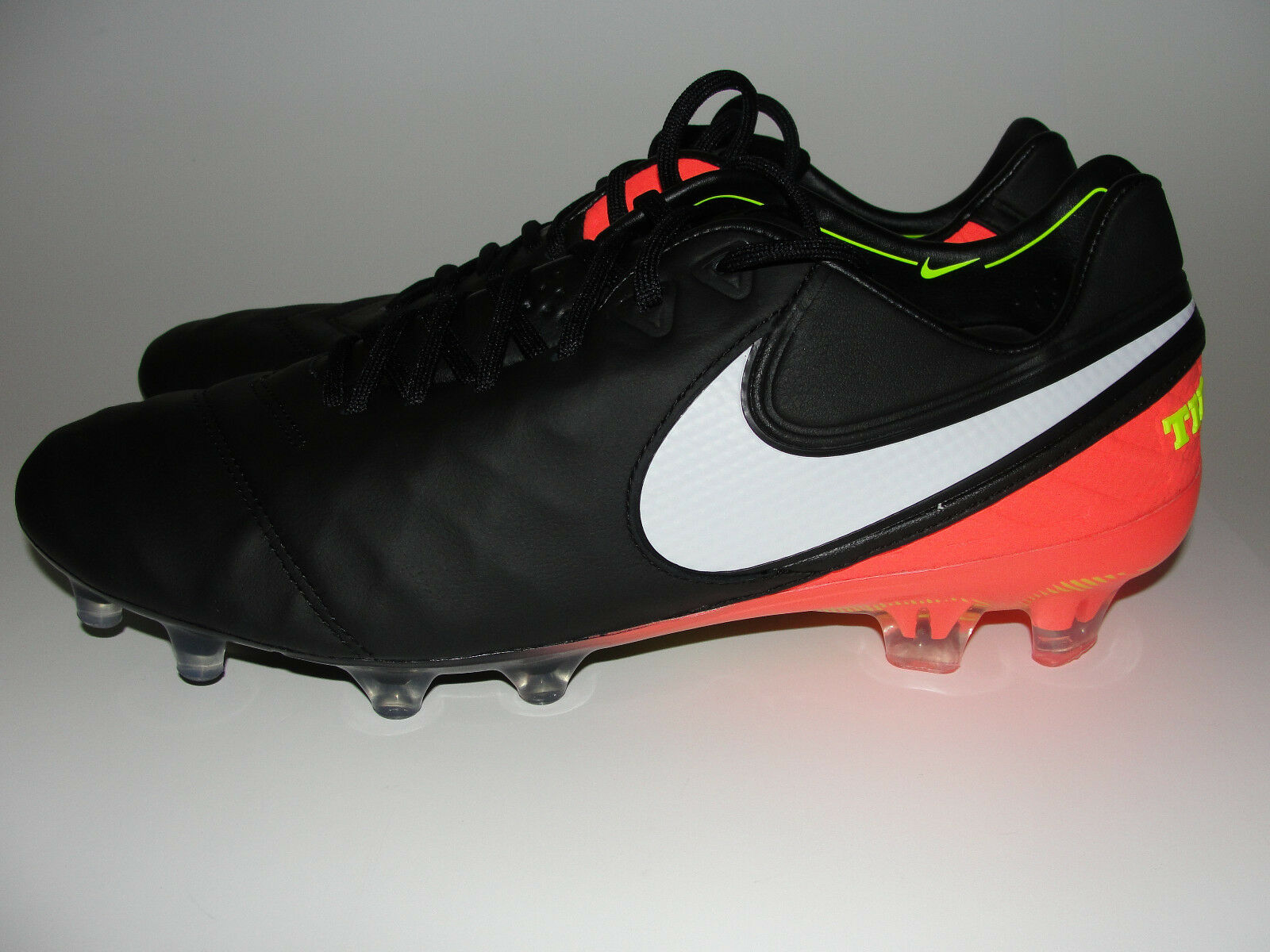 NEW Nike Tiempo Legend VI FG Mens Soccer Cleats Shoes sz 9 Black Orange