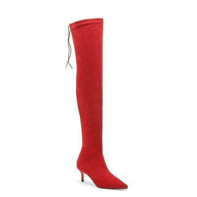Details about  /Womens Kitten Heel Stretch Suede Over Knee Pointed Toe Thigh High Boots Shoes
