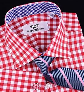 Hot-Red-Gingham-Check-Formal-Business-Dress-Shirt-Blue-Plaids-Luxury-Cool-Boss