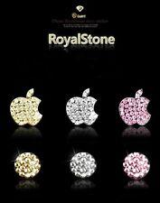 BLUE  Diamond JEWELLED, Design   Button & Logo Sticker x 1  For iPhone 5/3/4/4S