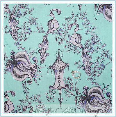 BonEful Fabric FQ Cotton Quilt Aqua Purple Peacock Flower Bird House Tree Retro