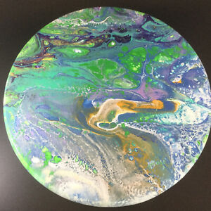 Wooden-Plaque-Painting-Wall-Art-Fluid-Art-Hand-Painted-Signed-Round