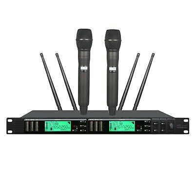 Best Wireless Microphone Uhf True Diversity Dual Handheld Mic Stage Live Vocal Ebay