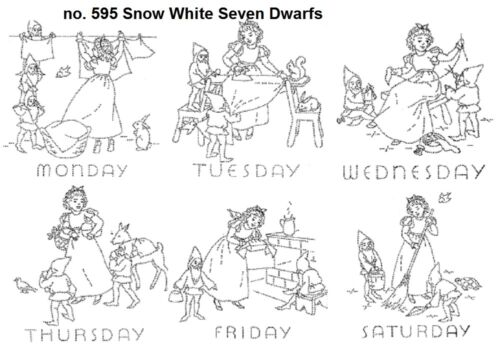 Snow White Seven Dwarfs 595 for Days of the Week dish towels 1940s Embroidery