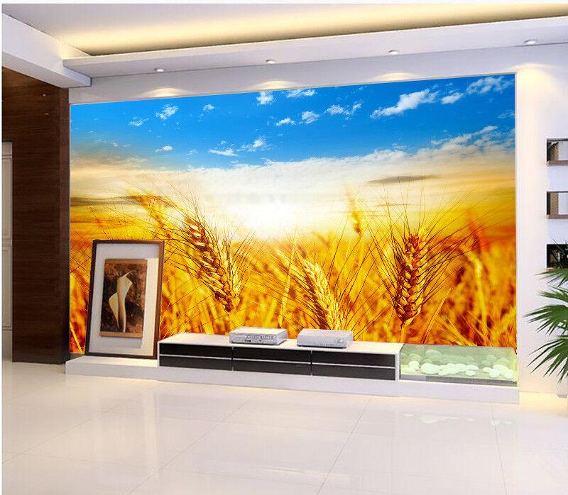 3D Weizenfeld Wolken 97 Tapete Wandgemälde Tapete Tapeten Bild Familie DE Summer | Guter weltweiter Ruf  | Kaufen Sie beruhigt und glücklich spielen  | Schön geformt