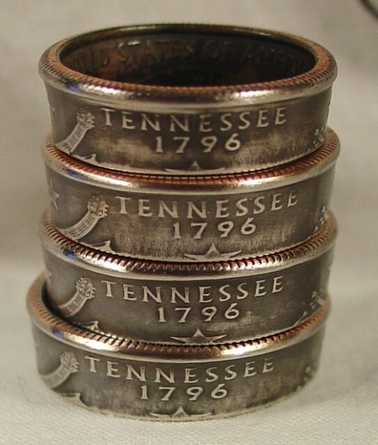 Custom Handmade Coin Rings from State quarters Powder Coated Clear