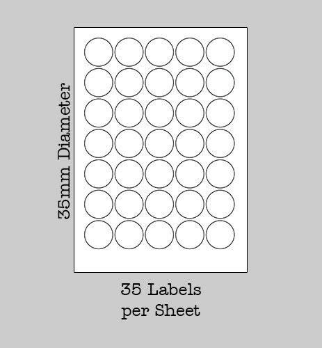 White Round Labels on A4 Sheets Sticky Self Adhesive Labels for Laser /& Inkjet