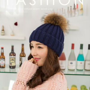 ab2da30533d Women Knitted Thicken Warm Winter Hats Fox Hair Ball Pom Beanies ...