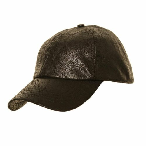 Mens Black Vintage  worn leather look Baseball Cap  fast post 1st class