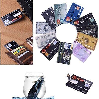 Waterproof Credit Card Model USB 2.0 Flash Drive 4GB 32GB Memory Stick Card Lot