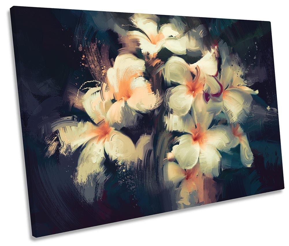 FIORI Floreale Bianco Vernice REPRO Singolo a Muro opera d'arte art print