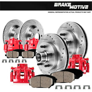 Front Brake Calipers Rotors Pads For 1997 1998 1999 2000-2004 F150 4X4 4WD
