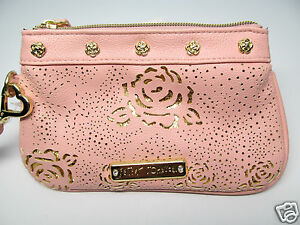Betsey Johnson Wristlet Zipper Blush Pink Gold Embossed Rose Mini Wallet New