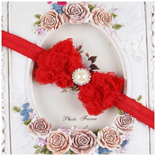 Elastic Hot Items Baby Darling Rose Bow Newborn Hairband Lace Flower Headband