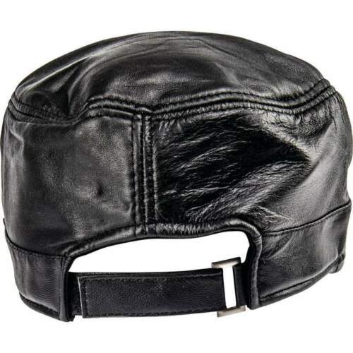 Black Solid Genuine Leather Baseball Cap Hat Adjustable Easy Closure