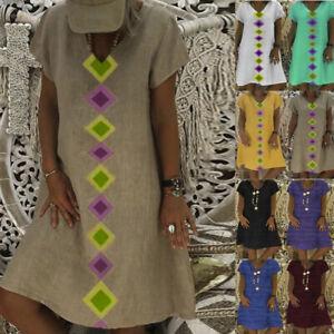 Women-039-s-Summer-Short-Sleeve-V-Neck-Geometric-Print-Cotton-Shift-Casual-Dress-P