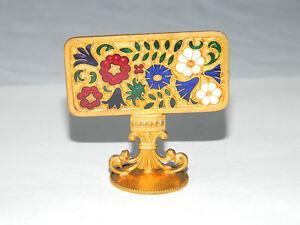Vintage-Enameled-Brass-Decorative-Miniature-Spring-Garden-Wax-Stamp-Handle