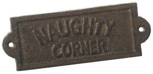 NEW-Cast-Iron-Naughty-Corner-Step-Vintage-Style-Metal-Plaque-Sign-home-garden